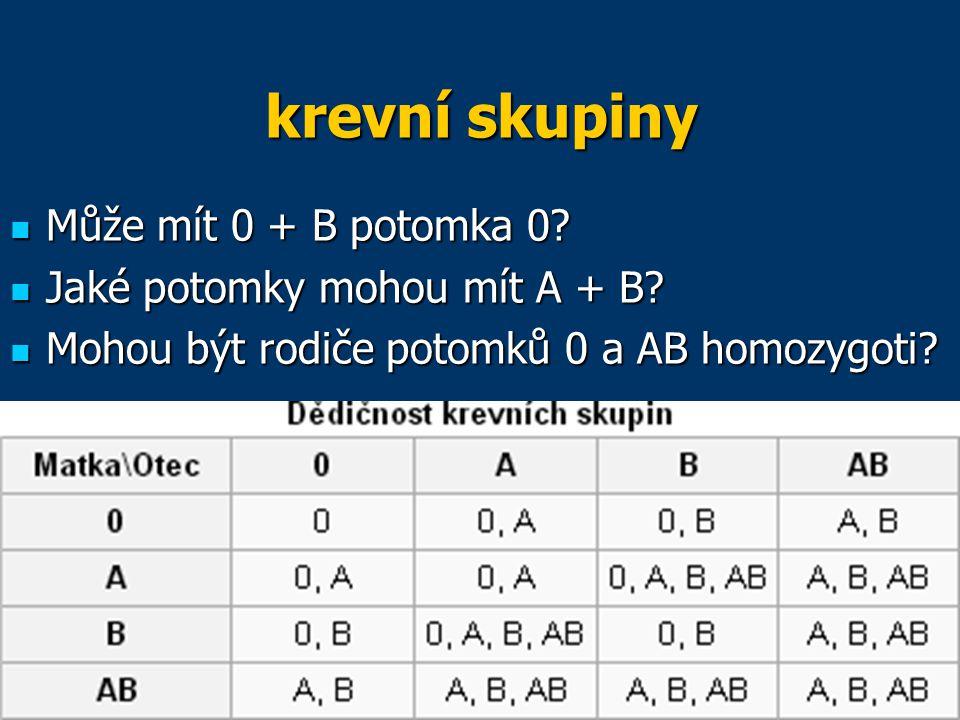krevní skupiny Může mít 0 + B potomka 0 Jaké potomky mohou mít A + B