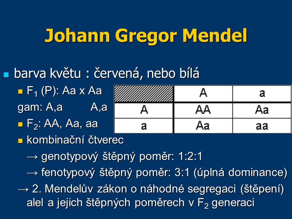 Johann Gregor Mendel barva květu : červená, nebo bílá F1 (P): Aa x Aa