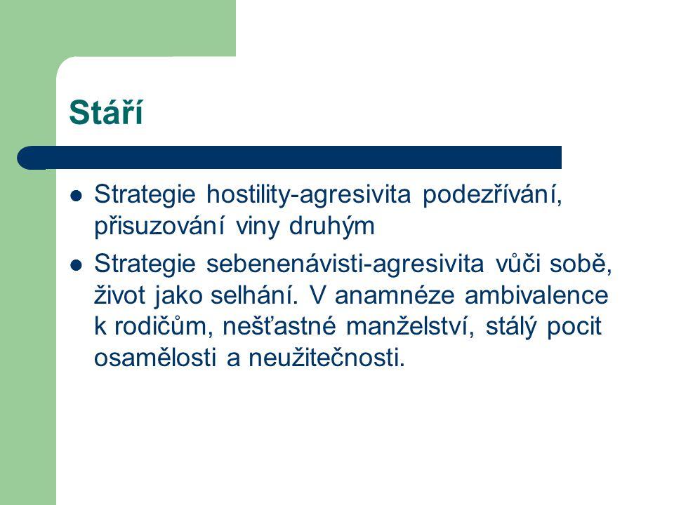 Stáří Strategie hostility-agresivita podezřívání, přisuzování viny druhým.