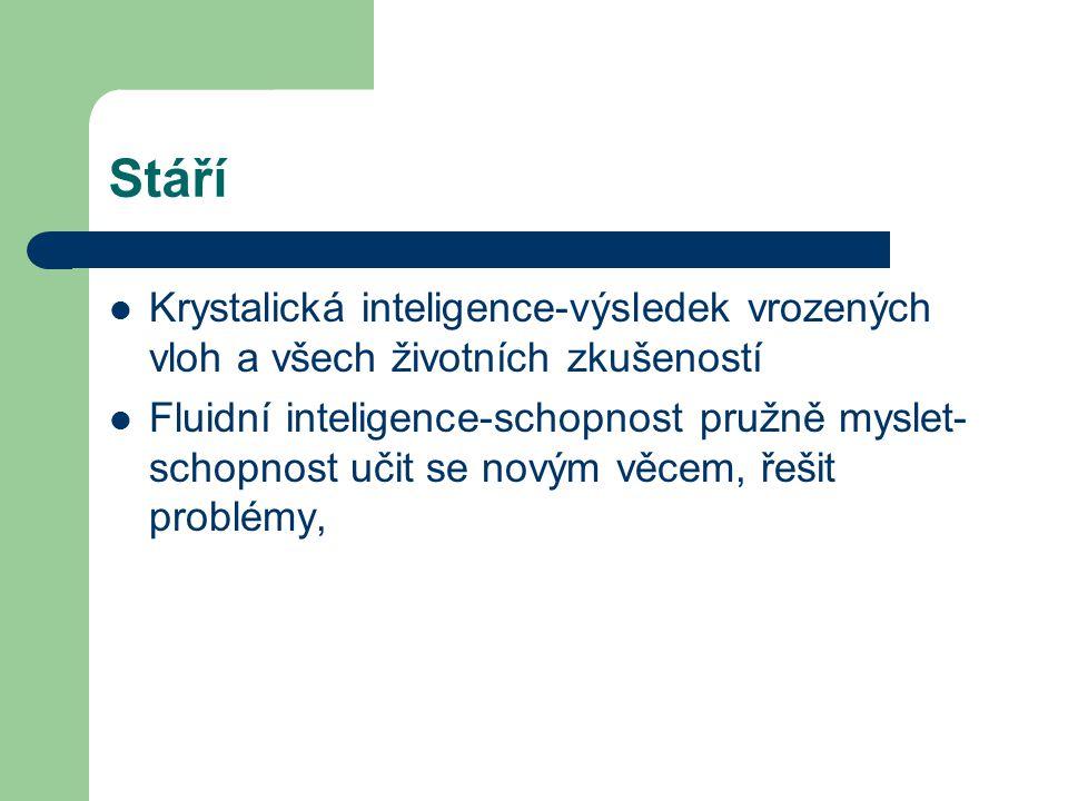 Stáří Krystalická inteligence-výsledek vrozených vloh a všech životních zkušeností.