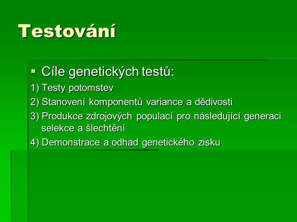 Testování Cíle genetických testů: 1) Testy potomstev