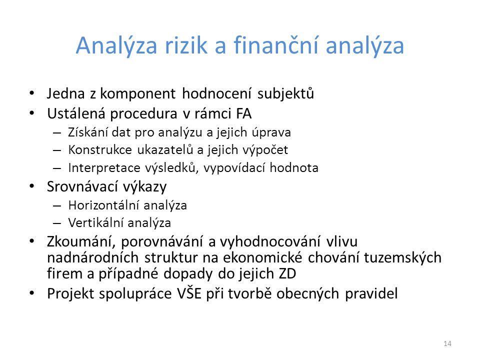 Analýza rizik a finanční analýza