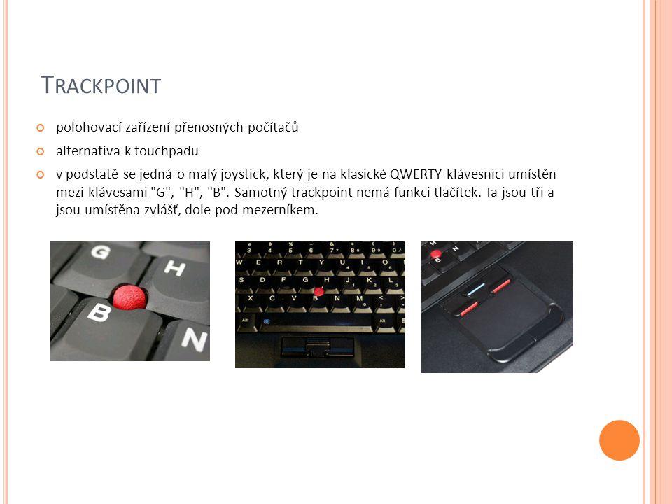 Trackpoint polohovací zařízení přenosných počítačů