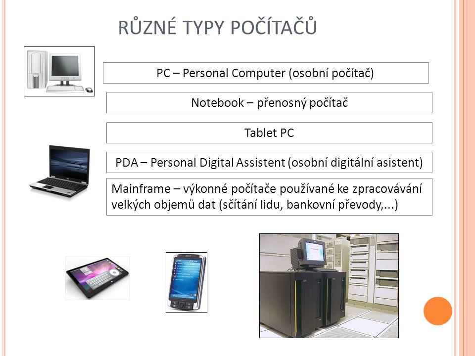 různé typy počítačů PC – Personal Computer (osobní počítač)