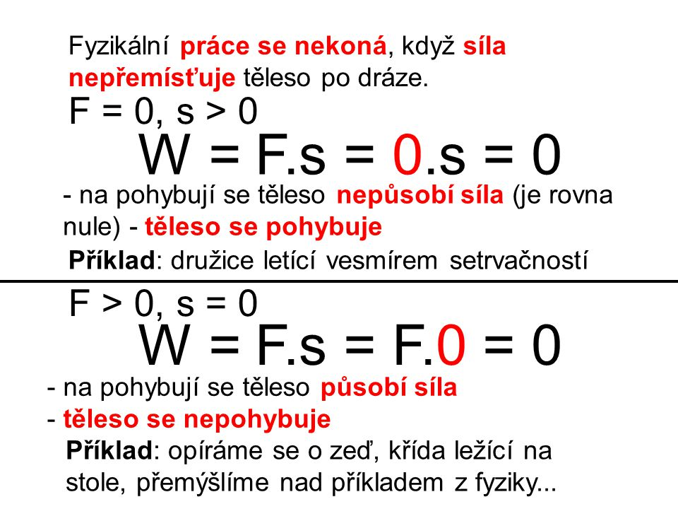 W = F.s = 0.s = 0 W = F.s = F.0 = 0 F = 0, s > 0 F > 0, s = 0
