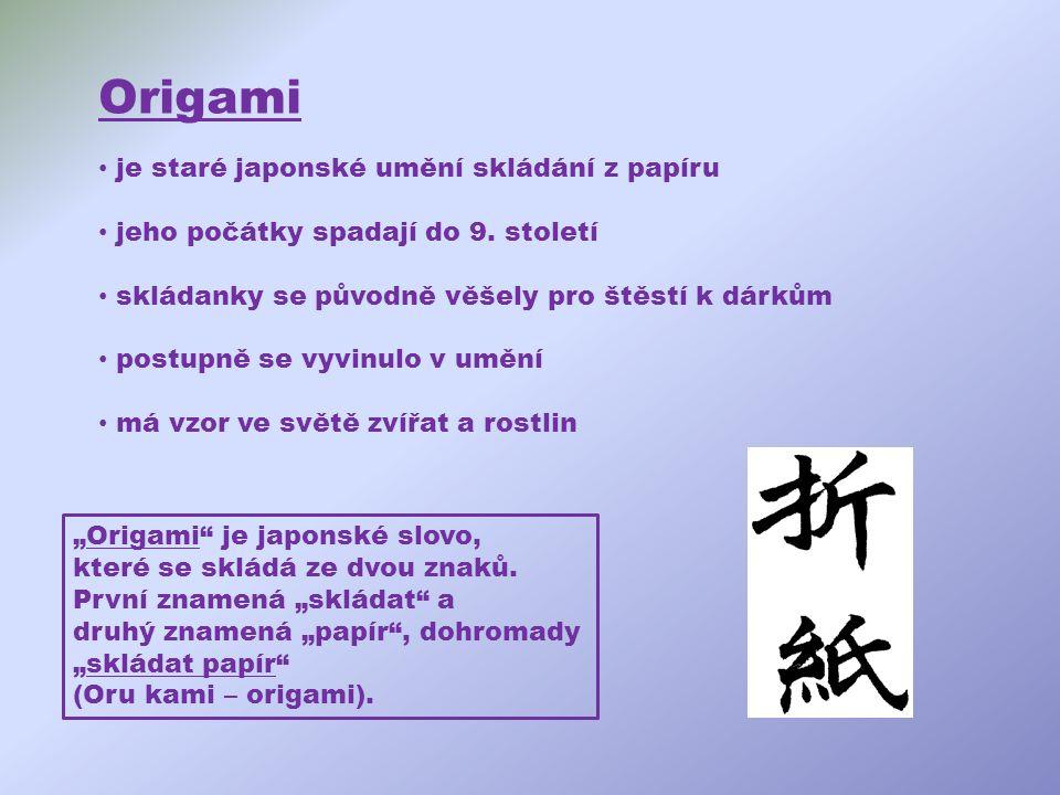 Origami je staré japonské umění skládání z papíru