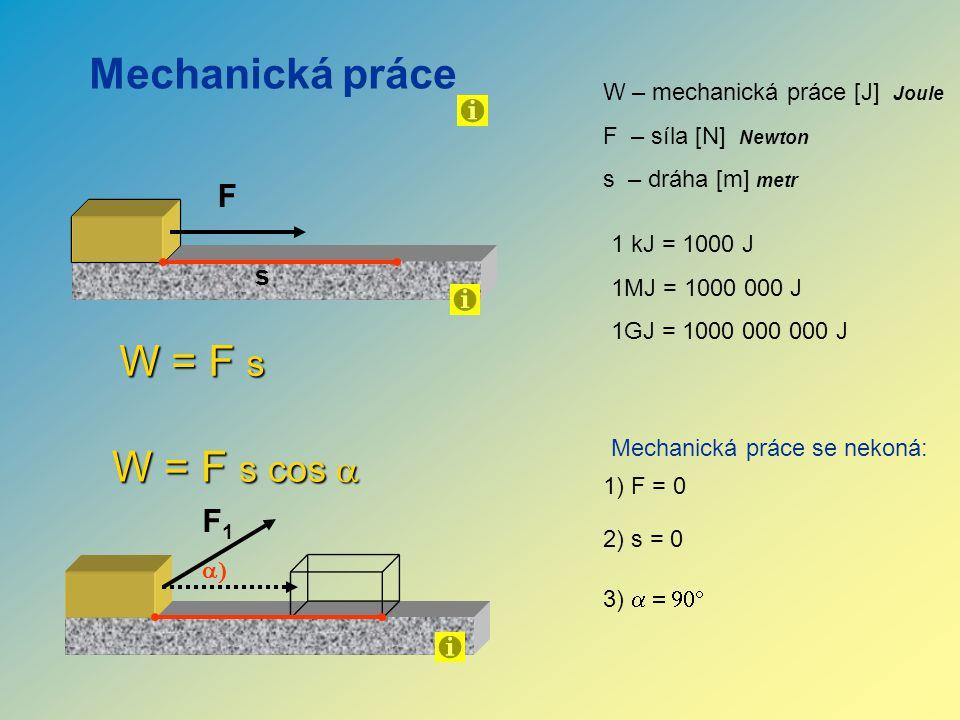 Mechanická práce W = F s W = F s cos a F F1 s