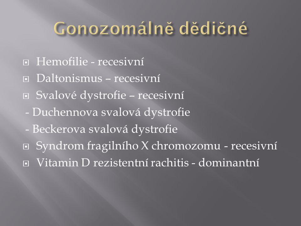 Gonozomálně dědičné Hemofilie - recesivní Daltonismus – recesivní