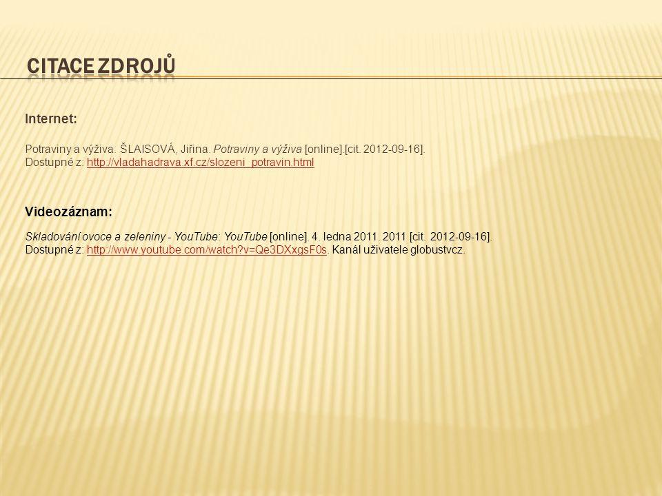 CITACE ZDROJŮ Internet: Videozáznam: