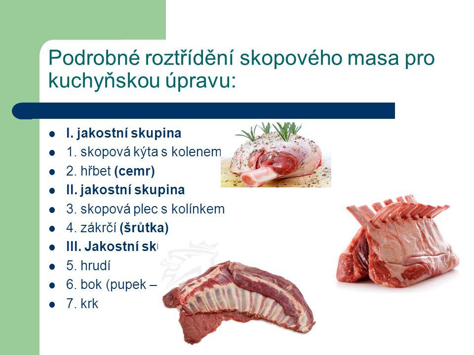Podrobné roztřídění skopového masa pro kuchyňskou úpravu: