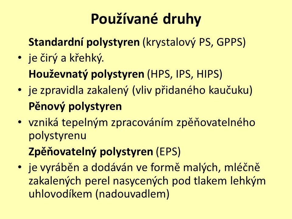 Používané druhy Standardní polystyren (krystalový PS, GPPS)