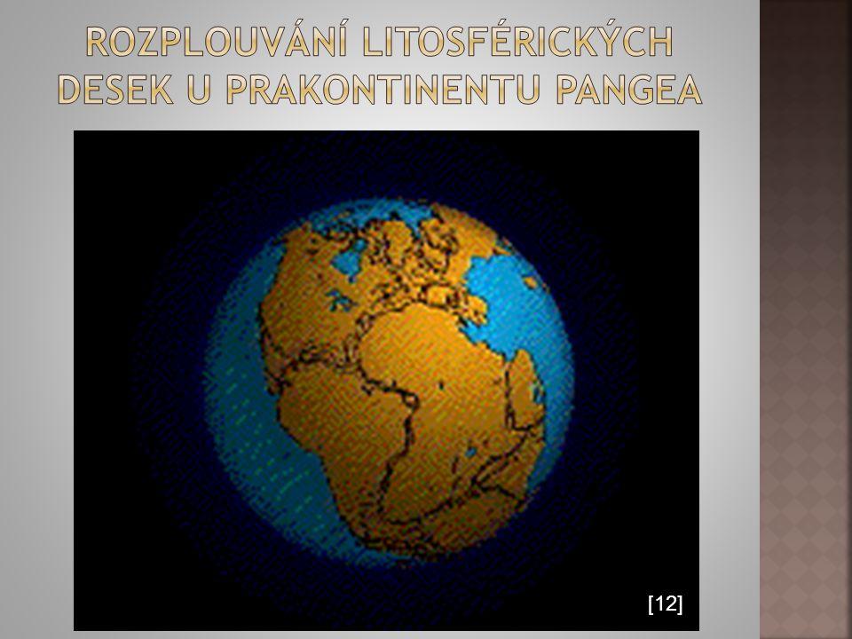 Rozplouvání litosférických desek u prakontinentu pangea