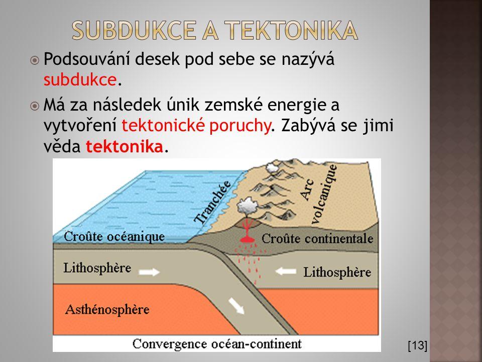 Subdukce a tektonika Podsouvání desek pod sebe se nazývá subdukce.
