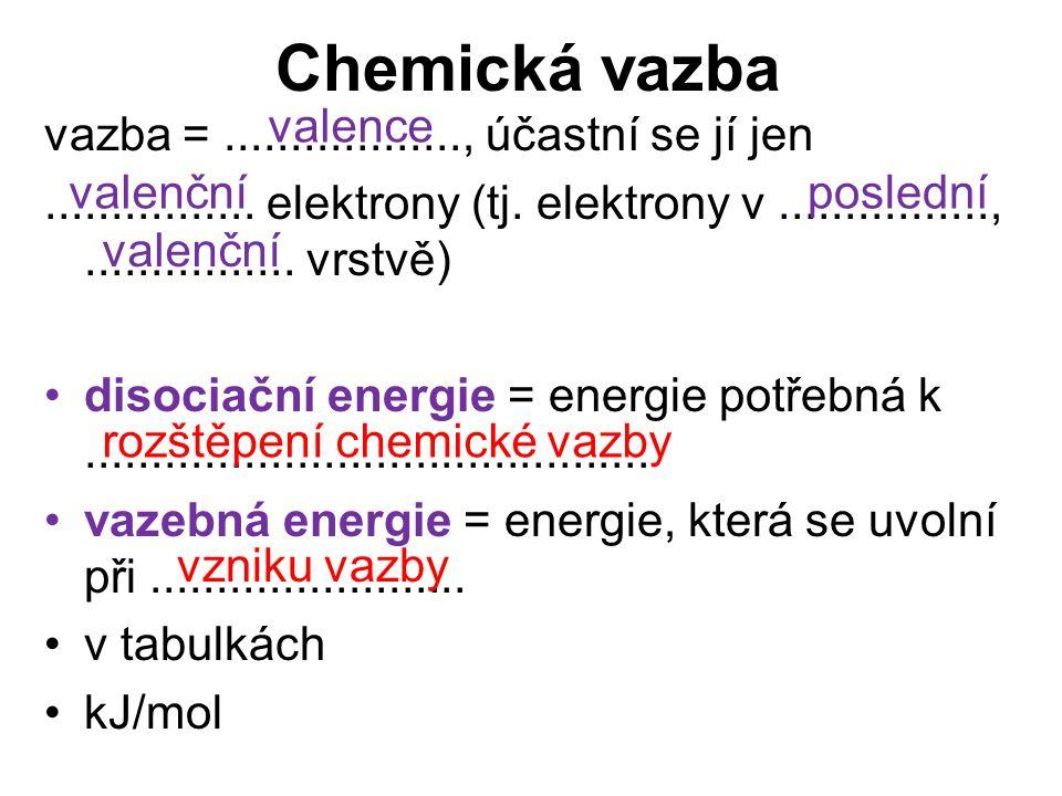Chemická vazba valence vazba = .................., účastní se jí jen