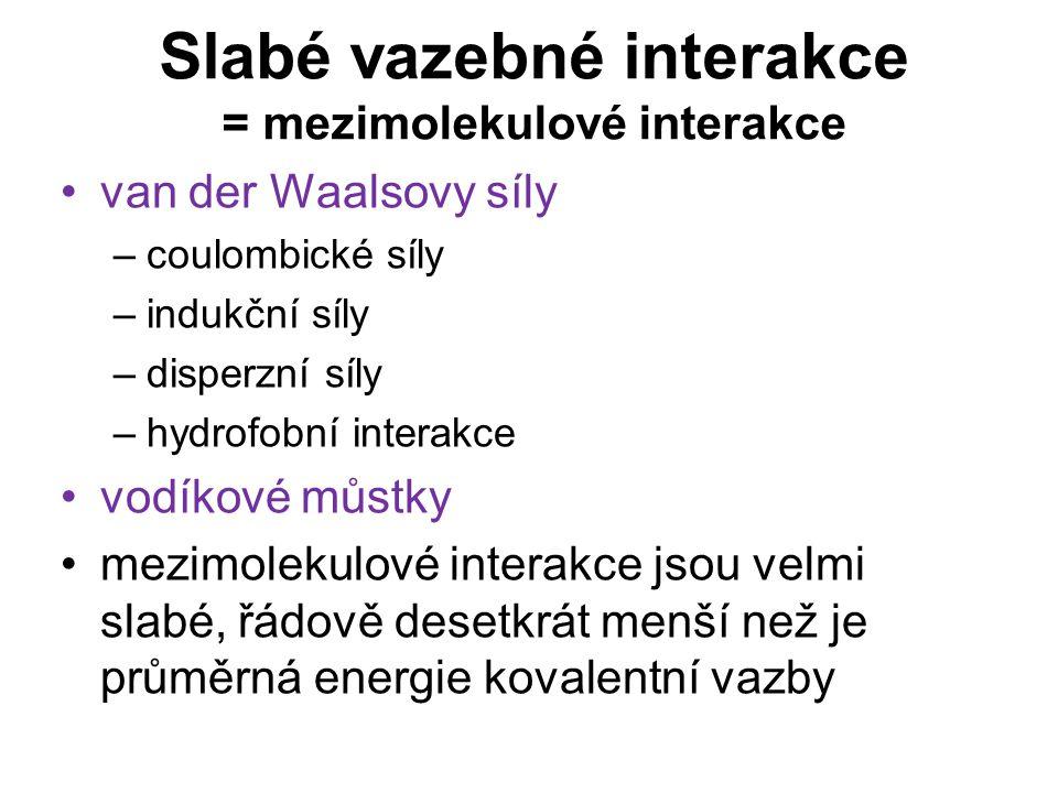 Slabé vazebné interakce = mezimolekulové interakce
