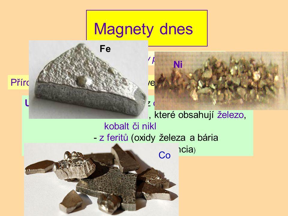 Magnety dnes Fe Rozlišujeme : magnety přírodní a umělé Ni