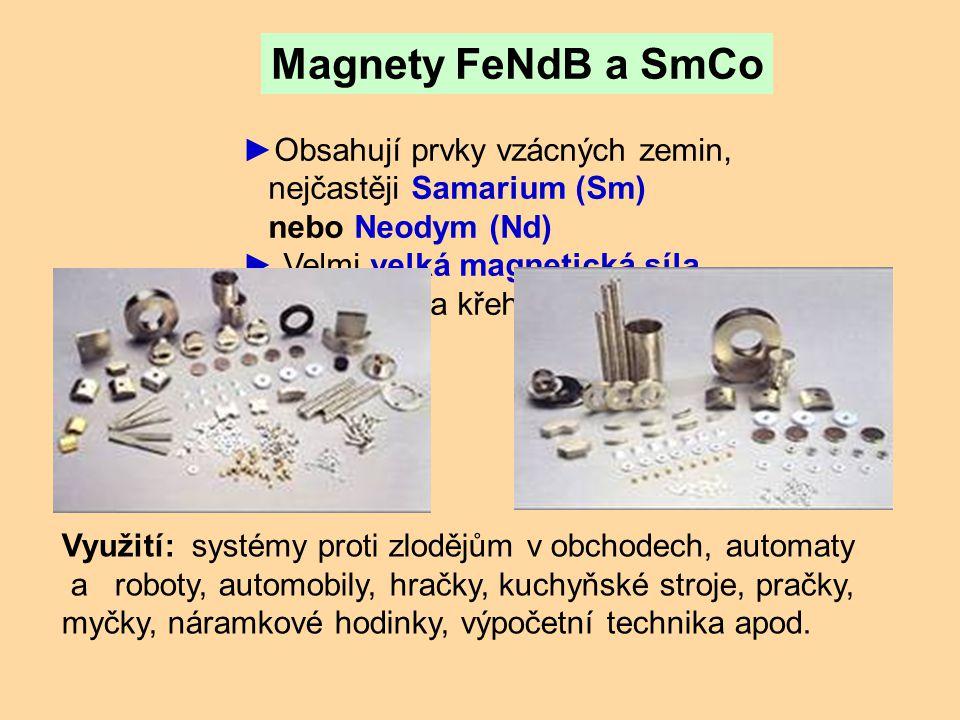 Magnety FeNdB a SmCo Obsahují prvky vzácných zemin,