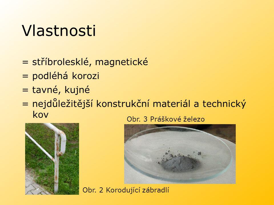 Vlastnosti = stříbrolesklé, magnetické = podléhá korozi = tavné, kujné = nejdůležitější konstrukční materiál a technický kov