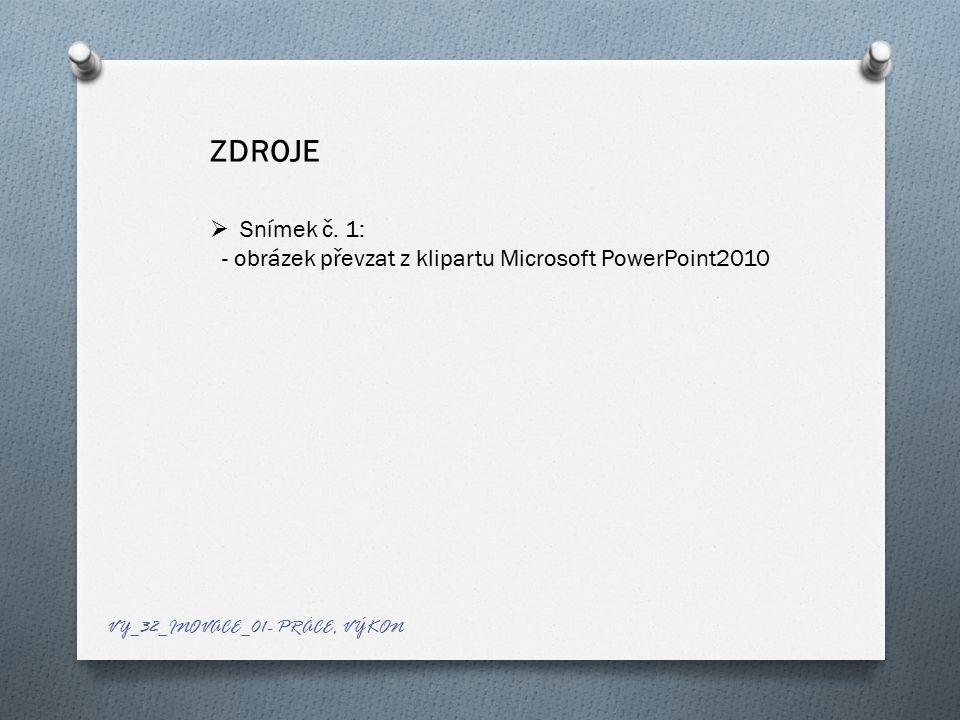 ZDROJE Snímek č. 1: - obrázek převzat z klipartu Microsoft PowerPoint2010.