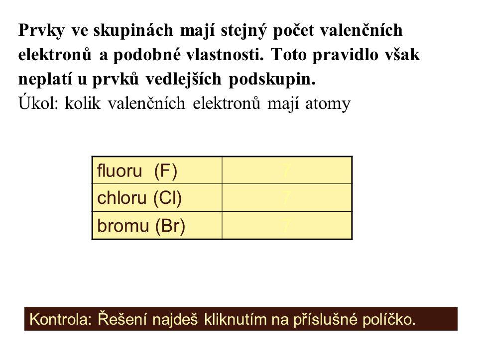 Prvky ve skupinách mají stejný počet valenčních