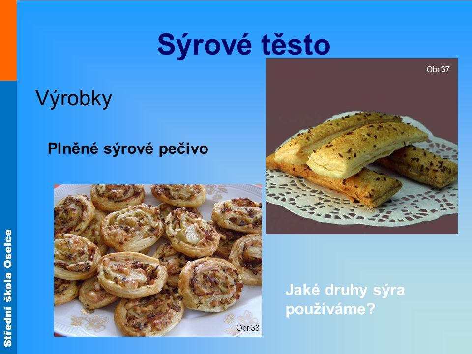 Sýrové těsto Výrobky Plněné sýrové pečivo Jaké druhy sýra používáme