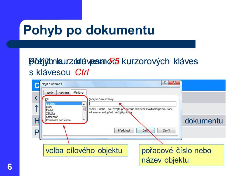 Pohyb po dokumentu Přejít na … klávesa F5