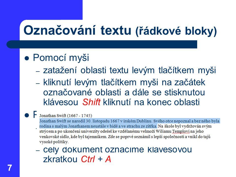 Označování textu (řádkové bloky)