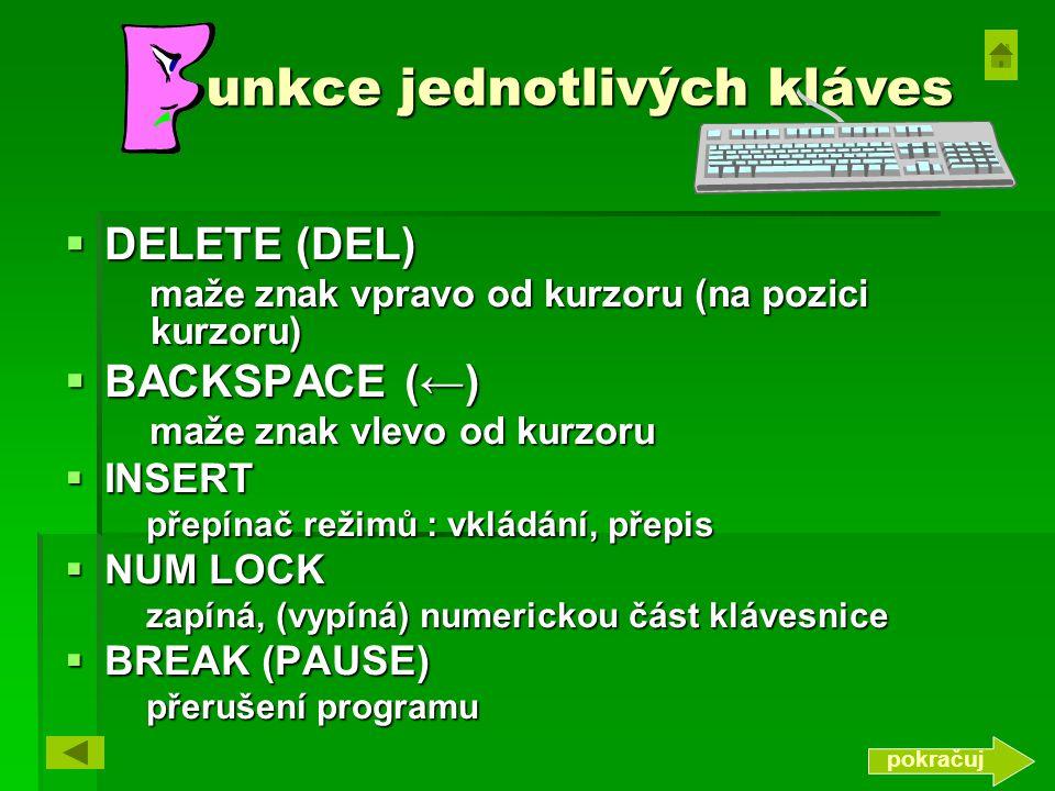 unkce jednotlivých kláves