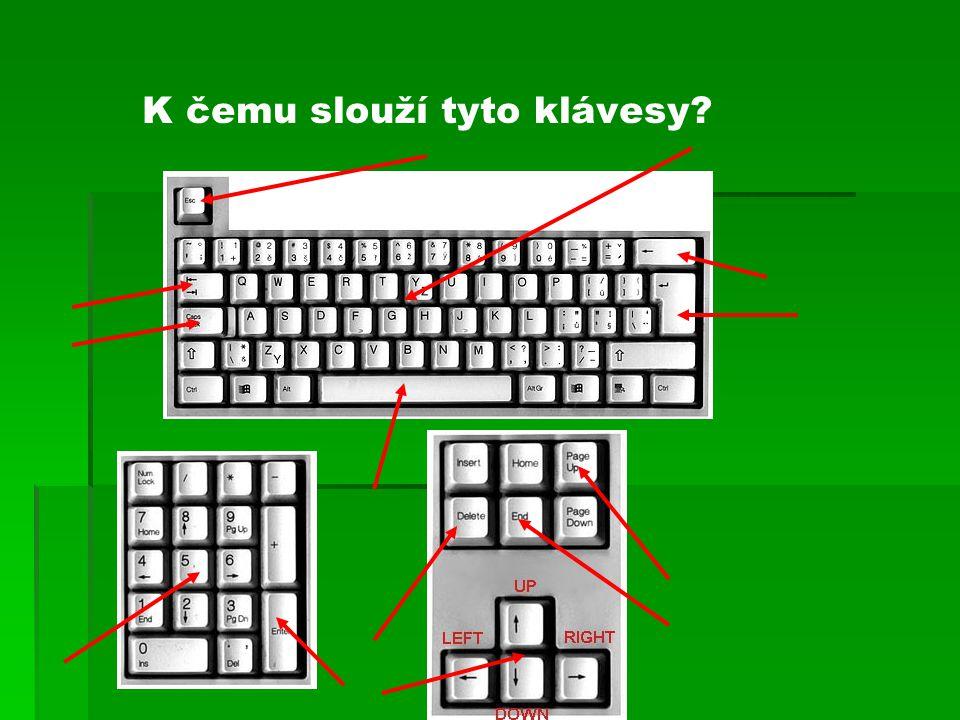 K čemu slouží tyto klávesy