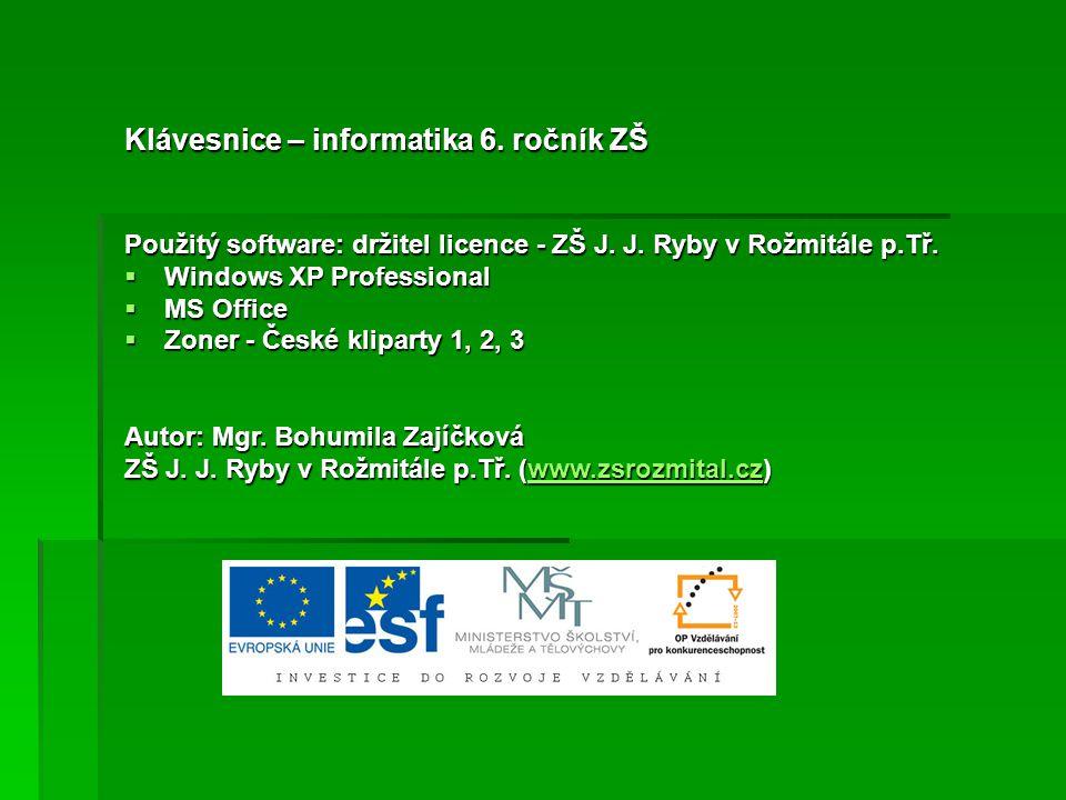 Klávesnice – informatika 6. ročník ZŠ