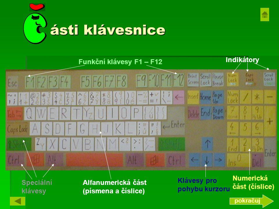 ásti klávesnice Indikátory Funkční klávesy F1 – F12
