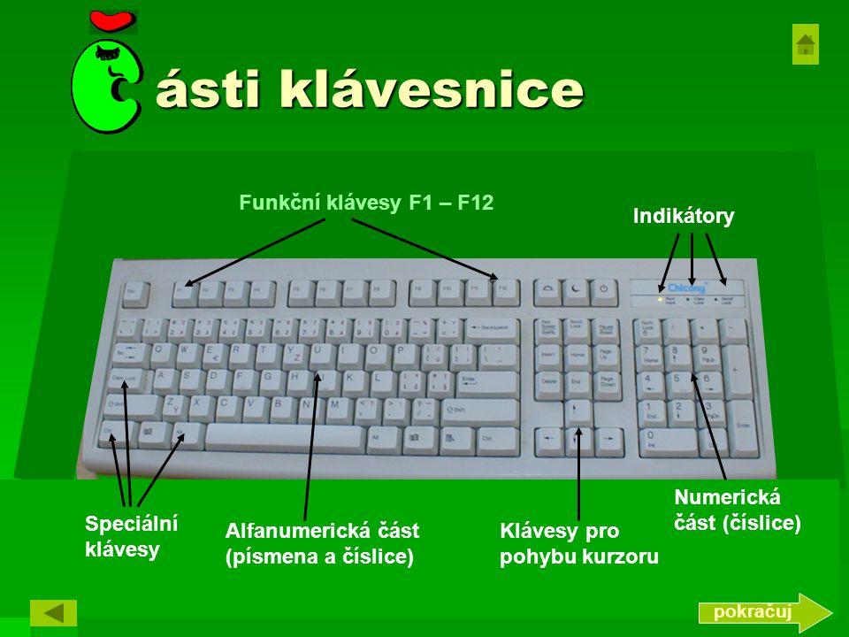 ásti klávesnice Funkční klávesy F1 – F12 Indikátory