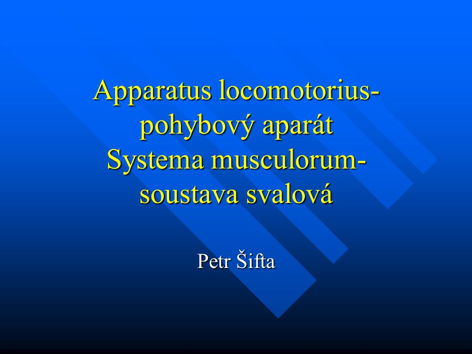Apparatus locomotorius-pohybový aparát Systema musculorum- soustava svalová