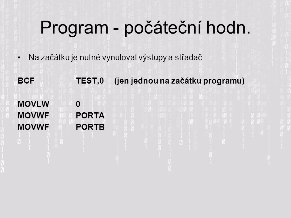 Program - počáteční hodn.