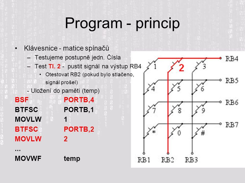 Program - princip Klávesnice - matice spínačů BSF PORTB,4