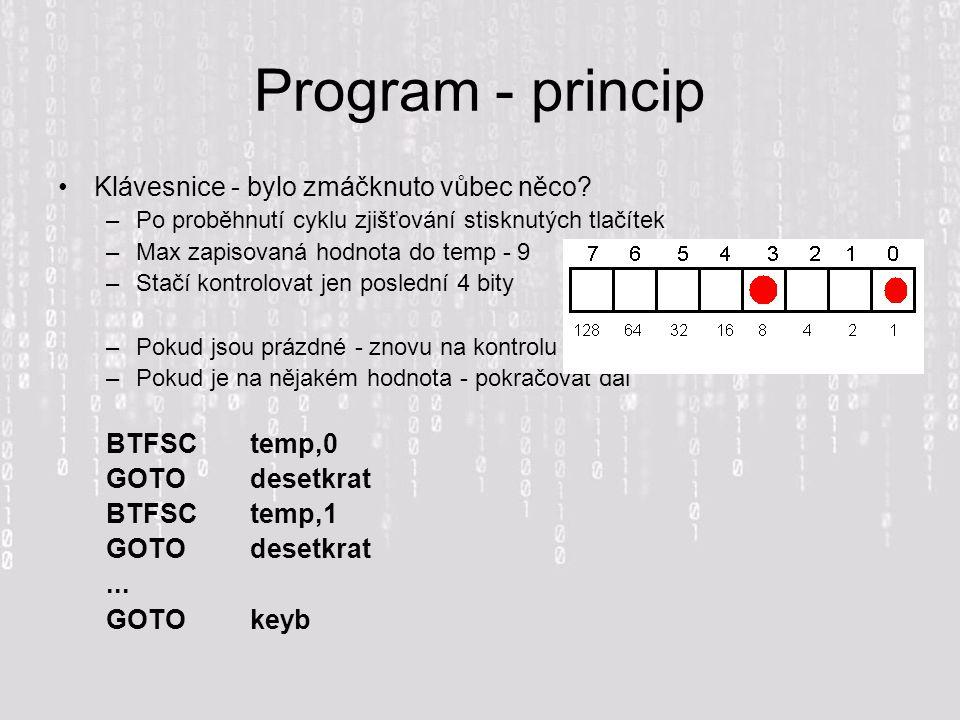 Program - princip Klávesnice - bylo zmáčknuto vůbec něco BTFSC temp,0