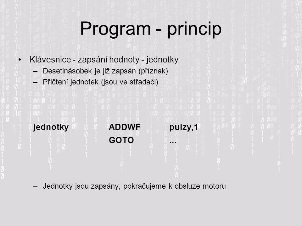 Program - princip Klávesnice - zapsání hodnoty - jednotky