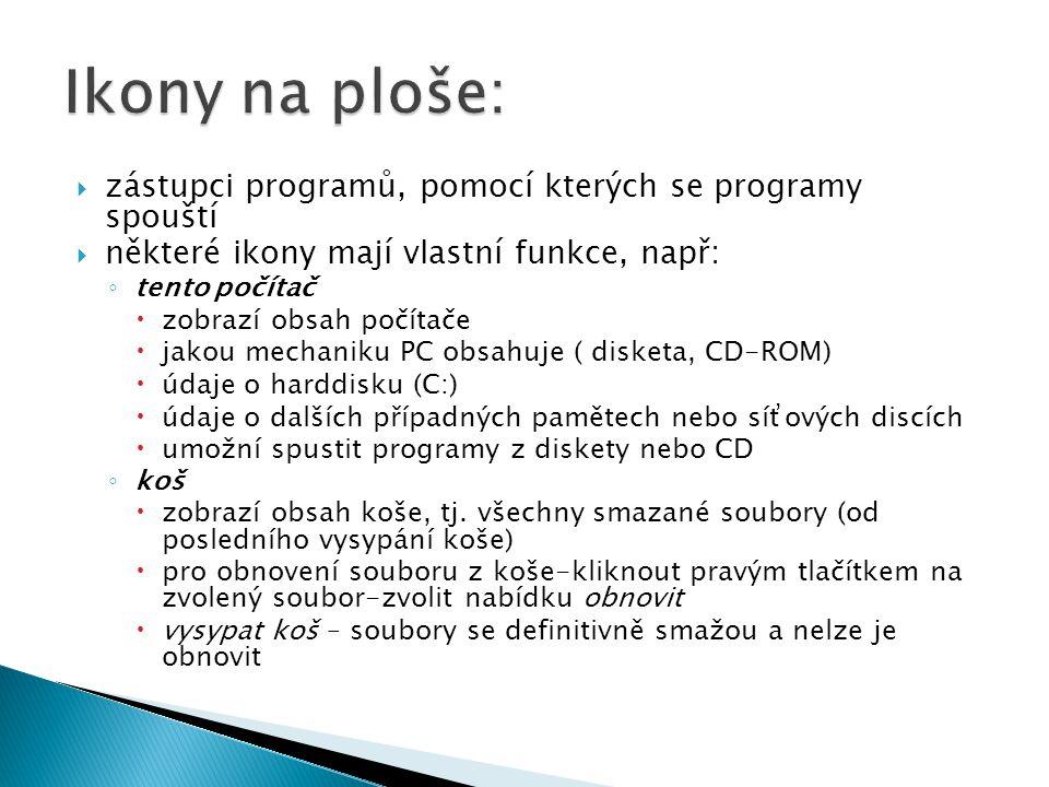 Ikony na ploše: zástupci programů, pomocí kterých se programy spouští