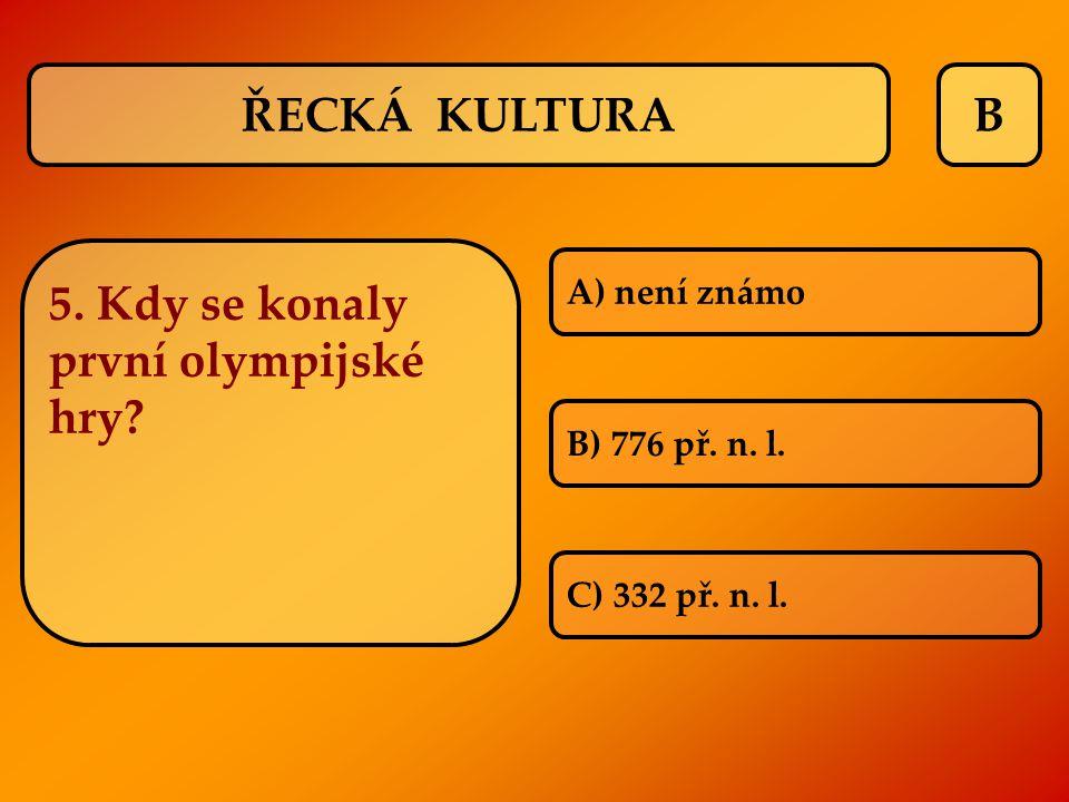 5. Kdy se konaly první olympijské hry