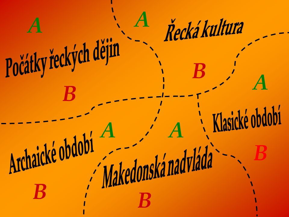 A A B A B A A B B B Řecká kultura Počátky řeckých dějin