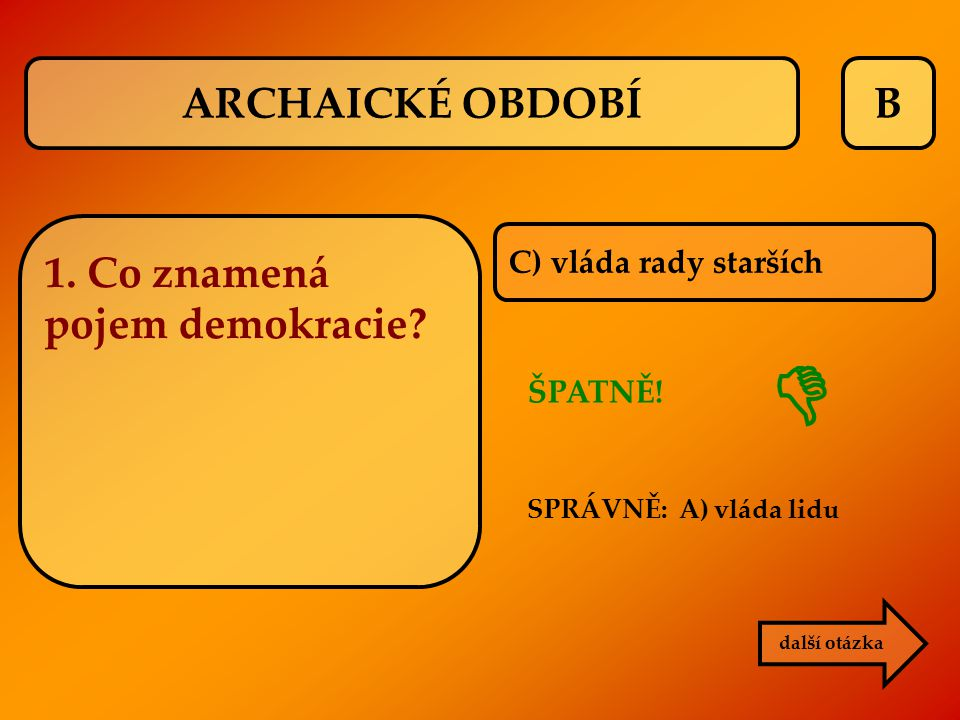  ARCHAICKÉ OBDOBÍ B 1. Co znamená pojem demokracie