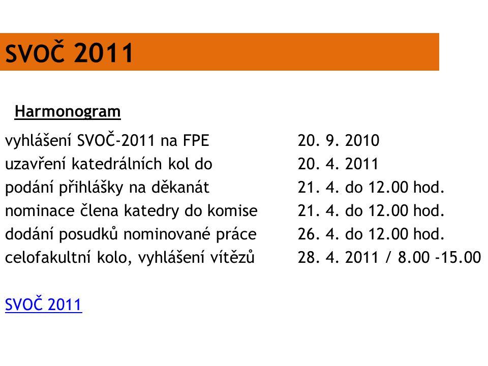 SVOČ 2011 Harmonogram.