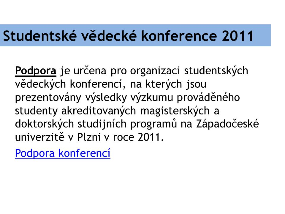 Studentské vědecké konference 2011