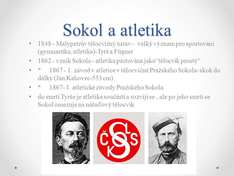 Sokol a atletika 1848 - Malypetrův tělocvičný ústav - velký význam pro sportování (gymnastika, atletika)-Tyrš a Fügner.