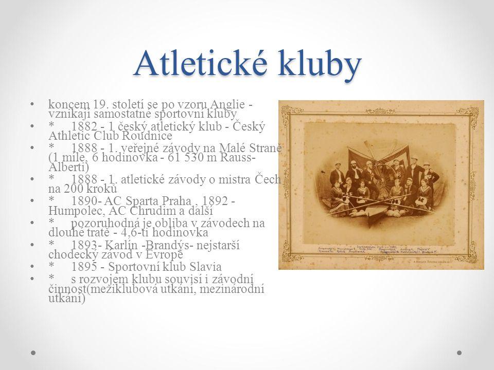 Atletické kluby koncem 19. století se po vzoru Anglie - vznikají samostatné sportovní kluby.
