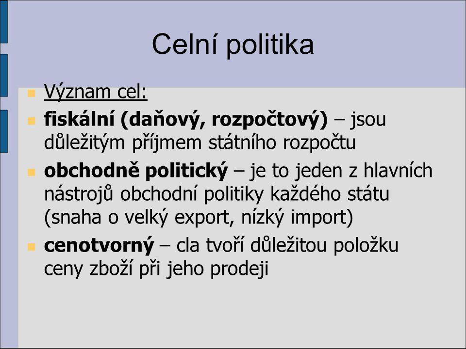 Celní politika Význam cel: