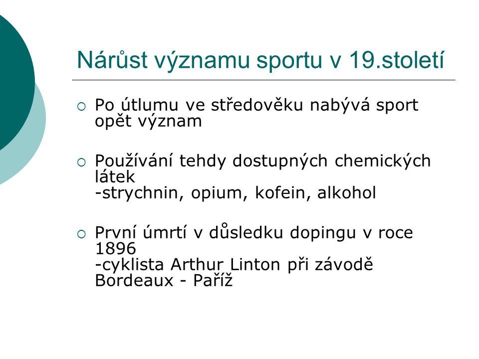 Nárůst významu sportu v 19.století