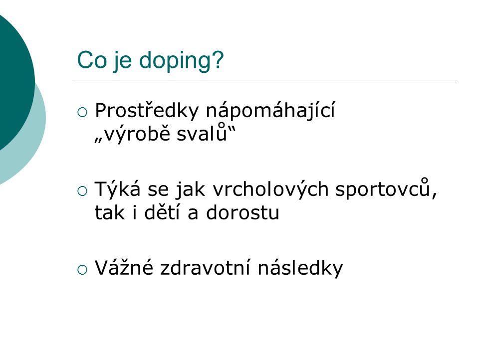 """Co je doping Prostředky nápomáhající """"výrobě svalů"""
