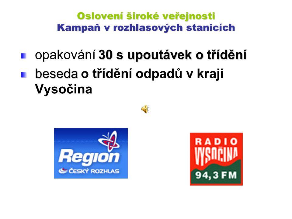Oslovení široké veřejnosti Kampaň v rozhlasových stanicích