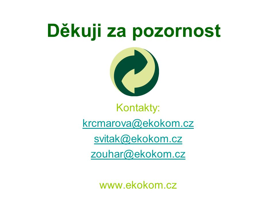 Děkuji za pozornost Kontakty: krcmarova@ekokom.cz svitak@ekokom.cz